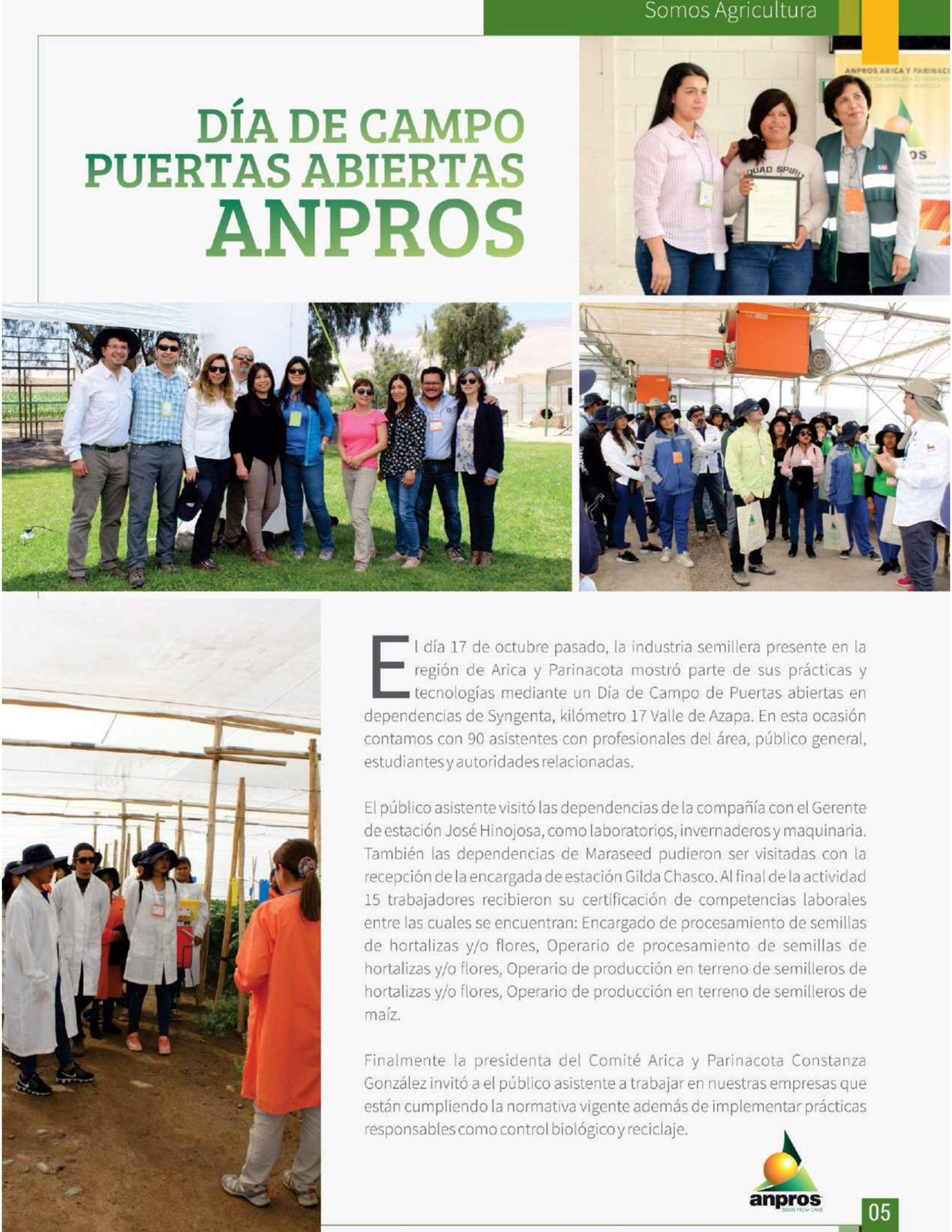 Revista Somos Agricultura destaca realización deDía de campo en Arica